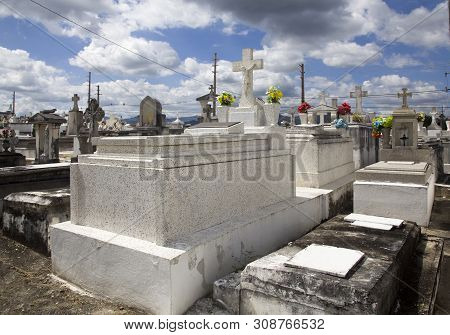 Cerro Gordo, San Lorenzo/pr - February 7, 2019: Several Crypts Located Inside The Municipal Public C