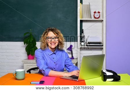 Student preparing for test or exam. Portrait of smiling caucasian female teacher. Student studying in classroom. Female student studying in university. College student at campus. World teachers day. poster