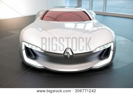 Bucharest, Romania - June 28, 2019: The Renault Trezor Concept Hypercar Is Presented To The Press Du