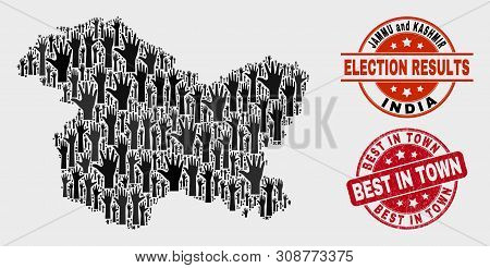 Electoral Jammu And Kashmir State Map And Stamps. Red Round Best In Town Textured Seal Stamp. Black
