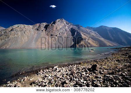 Artificial Lake Called Embalse El Yeso, In Cajón Del Maipo, Chile