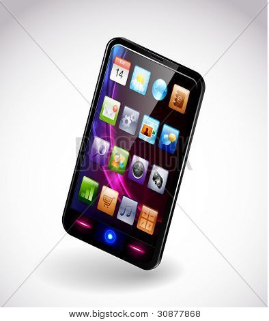 Detailed vector illustration of a modern smartphone