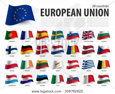 European Union Flag ( Eu ) And Membership On Europe Map Background . Waving Flag Design . Vector .