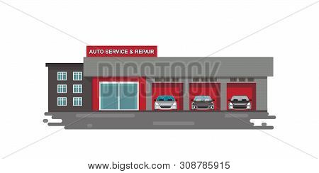 Auto Car Service And Repair Center Or Garage With Cars Isolated On White.vector Illustration.