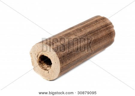 Briquettes Firewood Isolation On White