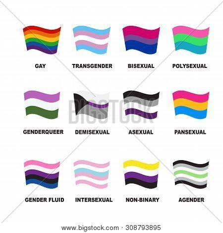 Lgbt Flags Set. Gay Pride Symbols. Design Elements For Banner, Poster Or Leaflet. Flat Design.