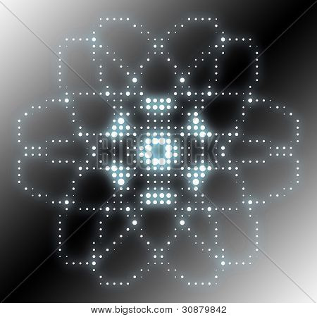 abstract atom graphic - background with circles and dots pattern poster