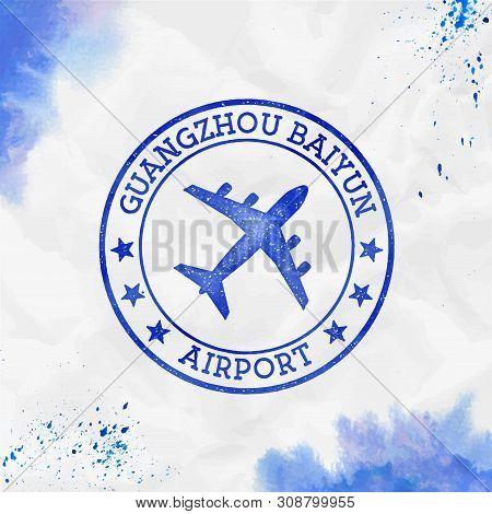 Guangzhou Baiyun Airport Logo. Airport Stamp Watercolor Vector Illustration. Guangzhou Aerodrome.