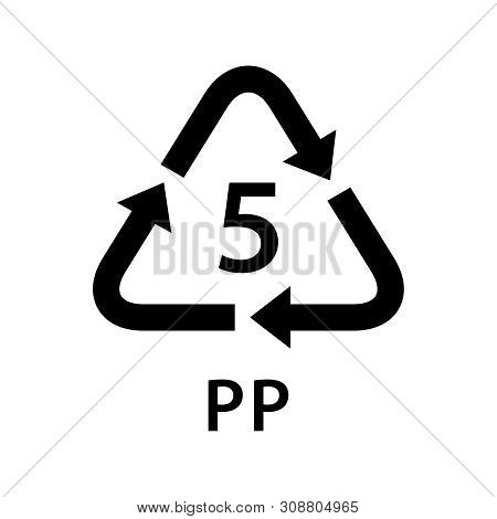 Recycle Arrow Triangle Pp Types 5 Isolated On White Background, Symbology Five Type Logo Of Plastic