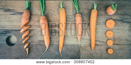 Carrots On Cutting Board Food. Healthy Food. Vegetarian Food. Nutritious Food. Creative Vegetarian F