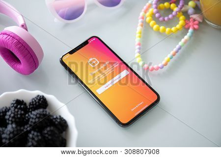 Alushta, Russia - July 27, 2018: Iphone X With Social Networking Service Igtv Instagram On The Scree