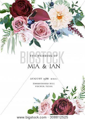 Desert Cinnamon, Brown, Dusty Pink Roses, Dahlia, Burgundy Anthurium Flowers, Juniper, Eucalyptus, G
