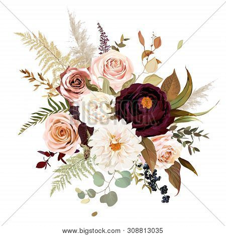 Moody Boho Chic Wedding Vector Bouquet. Warm Fall And Winter Tones. Orange Red, Taupe, Burgundy, Bro