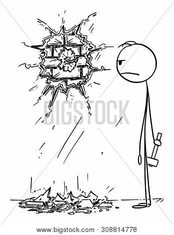 Vector Cartoon Stick Figure Drawing Conceptual Illustration Of Clumsy Angry Man, Who Destroyed The W