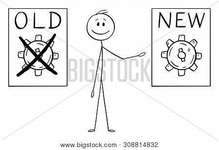 Vector Cartoon Stick Figure Drawing Conceptual Illustration Of Man Or Businessman Showing Old And Ne