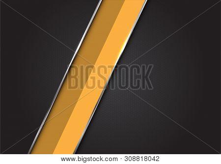 Abstract Yellow Silver Line Slash On Dark Grey Black Hexagon Mesh Pattern Design Modern Luxury Futur