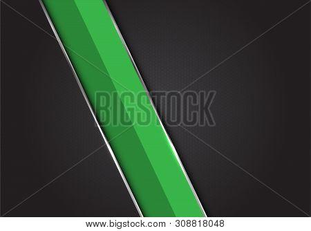 Abstract Green Silver Line Slash On Dark Grey Black Hexagon Mesh Pattern Design Modern Luxury Futuri
