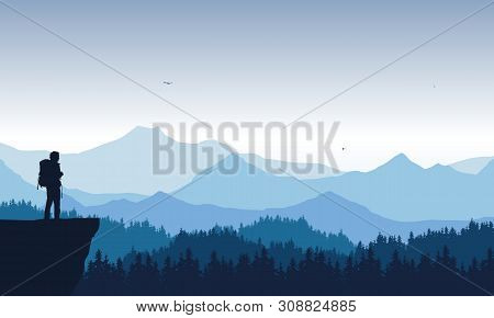 Realistic Illustration Of Mountain Landscape With Coniferous Forest Under Blue Sky With Flying Birds