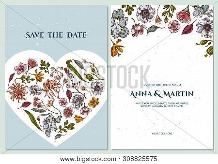 Wedding Invitation Card With Colored Japanese Chrysanthemum, Blackberry Lily, Eucalyptus Flower, Ane