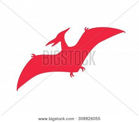 Pterodactyl Vector Silhouette. Pteranodon Dinosaur. Pterosaur Red Silhouette Isolated On White Backg