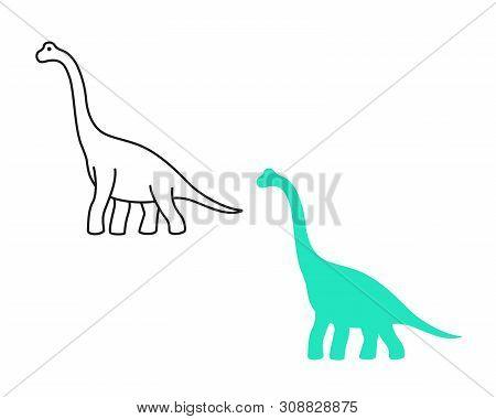 Brachiosaurus Vector Silhouette And Contour. Sauropod Dinosaur. Diplodocus Isolated On White Backgro
