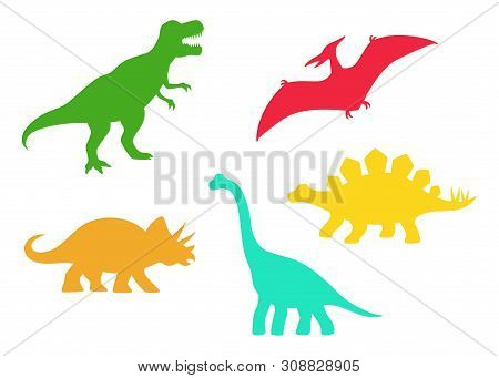 Dinosaur Vector Silhouettes - T-rex, Brachiosaurus, Pterodactyl, Triceratops, Stegosaurus. Cute Flat