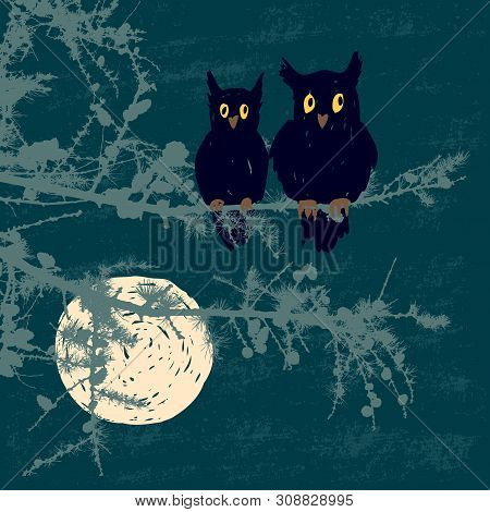 Vector Illustration Of The Owls Sitting On The Fir Branches In The  Moonlit Night
