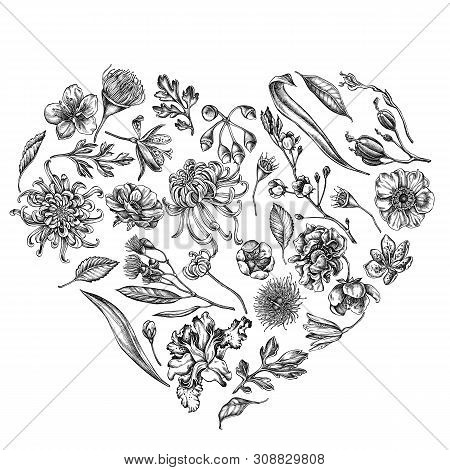 Heart Floral Design With Black And White Japanese Chrysanthemum, Blackberry Lily, Eucalyptus Flower,