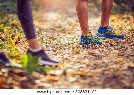 Running Sport Fitness Man. Close Up Of Male Legs And Shoes. Young Man Athlete Fitness Runner Running