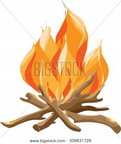 Burning Bonfire With Wood. Vector Cartoon Style Illustration Of Bonfire