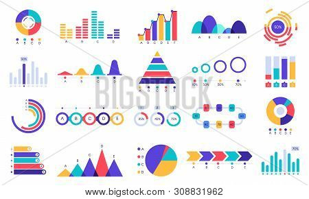 Graphic Charts Icons. Finance Statistic Chart, Money Revenue And Profit Growth Graph. Business Prese