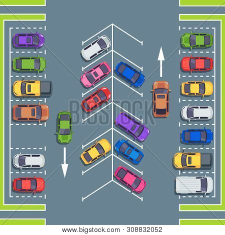 City Parking Top View. Park Spaces For Cars, Car Parking Zone. Automobile On Asphalt Road, Vehicle P