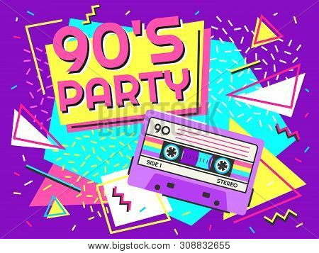 Retro Party Poster. Nineties Music, Vintage Tape Cassette Banner And 90s Style. Radio Invitation Car