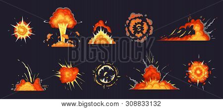 Cartoon Explosion. Exploding Bomb, Atomic Explode Effect And Comic Explosions Smoke Clouds. Destruct