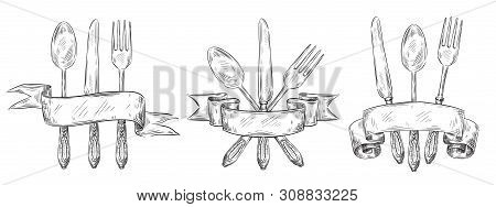 Cutlery With Ribbon. Vintage Table Setting Engraving, Hand Drawn Fork, Knife And Food Spoon Sketch.