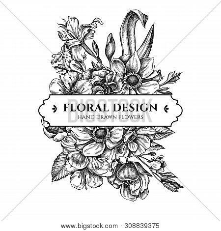 Floral Bouquet Design With Black And White Anemone, Iris Japonica, Sakura Stock Illustration