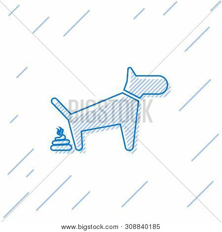 Blue Dog Pooping Line Icon Isolated On White Background. Dog Goes To The Toilet. Dog Defecates. The