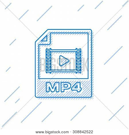 Blue Mp4 File Document Icon. Download Mp4 Button Line Icon Isolated On White Background. Mp4 File Sy