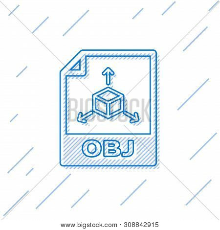 Blue Obj File Document Icon. Download Obj Button Line Icon Isolated On White Background. Obj File Sy