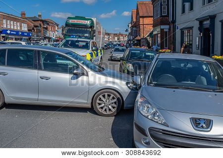 Marlborough, Wiltshire, Uk, March, 24, 2019: A Close Up Of A Runaway Car That Has Blocked The One Wa