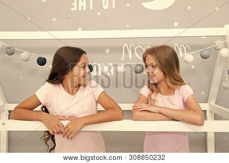 Benefits Having Sister. Girls Sisters Spend Pleasant Time Communicate In Bedroom. Awesome Perks Of H