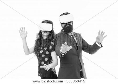 Modern software for business. Just imagine. Business implement modern technology. Couple colleagues wear hmd explore virtual reality. Business partners interact in virtual reality. New opportunity. poster