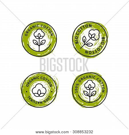 Set Of Natural Organic Cotton Liner Labels And Badges - Vector Round Green Icon, Sticker, Logo, Stam