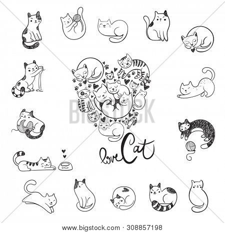 Cute hand-drawn doodle cats with different emotions and cats in the form of heart for the fan of cats