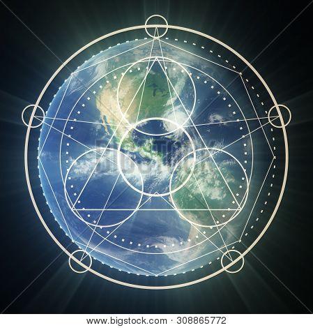 Mystical Geometry Symbol. Linear Alchemy, Occult, Philosophical Sign. Sacramental Design. Astrology
