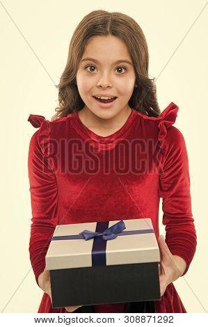 Birthday Wish List. Happy Birthday Concept. Girl Kid Hold Birthday Gift Box. Every Girl Dream About