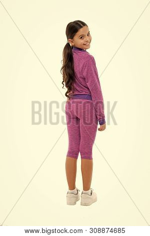 poster of Working out with long hair. Sport for girls. Guidance on working out with long hair. Deal with long hair while exercising. Girl cute kid with long ponytails wear sportive costume isolated on white.