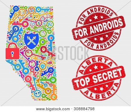 Passkey Alberta Province Map And Stamps. Red Round Top Secret And For Androids Textured Stamps. Colo