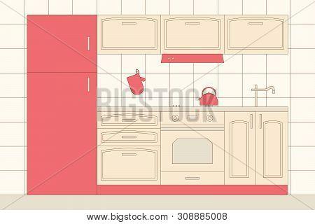 Kitchen home interior. Indoor furniture: fridge, stove, cupboard, hood, kettle, MITT, oven MITT,sink, faucet.Vector illustration poster