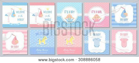 Baby Shower Invitation. Vector. Baby Boy Girl Invite Card. Welcome Template Banner. Blue, Pink Desig